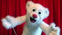 Snowbelle polar bear cub puppet by Terry Angus