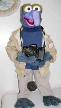 Gonzo poser puppet holding camera